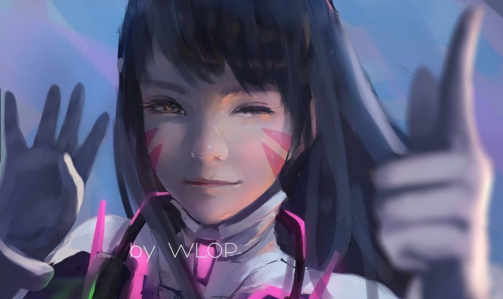 D.Va from Overwatch, drawn by Wlop