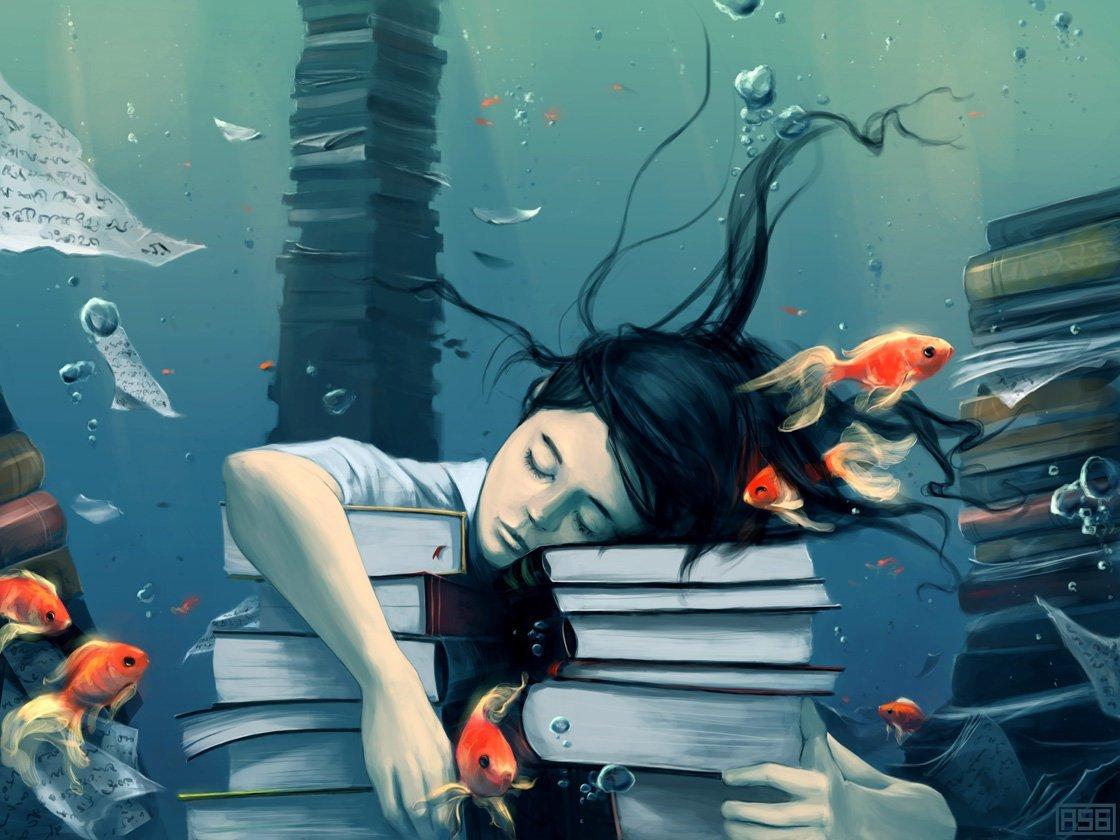 Books underwater