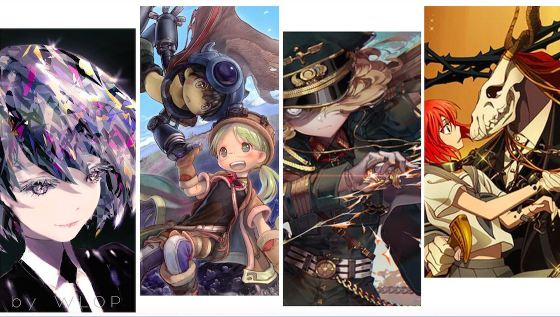 Artwork on left: credit to wlop, artwork on right credits to kawacy