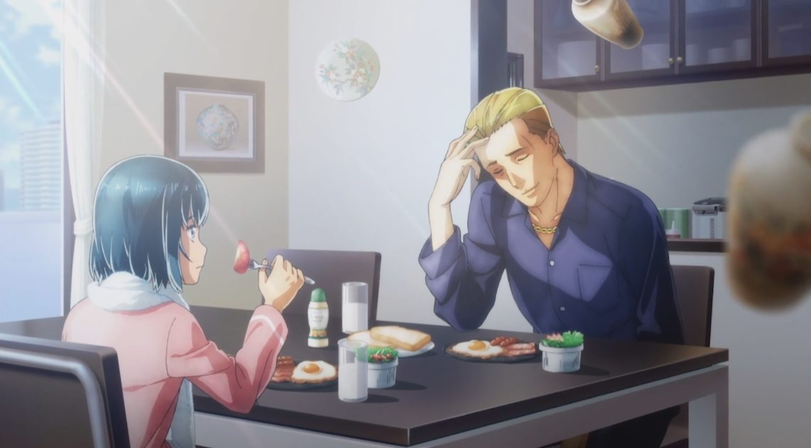 Hina and Nitta eating breakfast